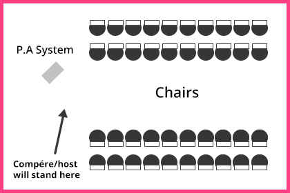 The usual seating layout for fashion shows